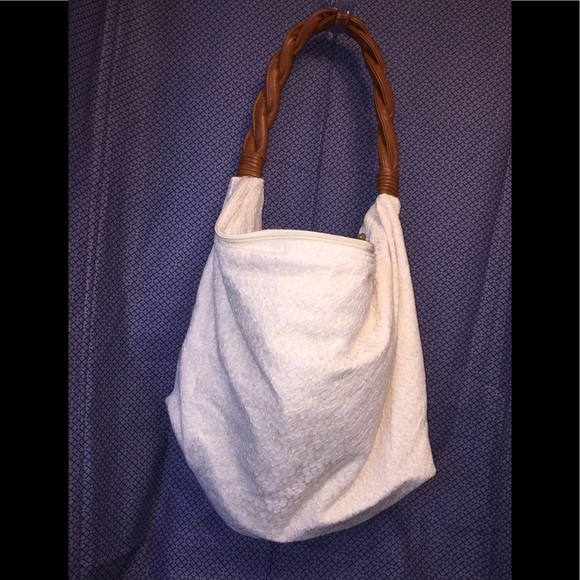 Aeropostale Handbags - Aeropostale White Lace Hobo / Brown, Twisted Strap
